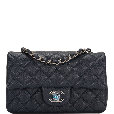 67c66aee303bfb Chanel Navy Quilted Caviar Rectangular Mini Classic Flap Bag
