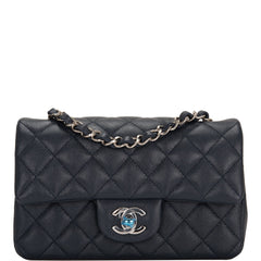 Chanel Navy Quilted Caviar Rectangular Mini Classic Flap Bag