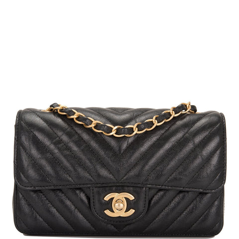 c184b2c37339 Chanel Black Chevron Metallic Etched Calfskin Rectangular Mini Classic Flap  Bag