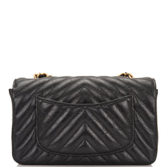 Chanel Black Chevron Metallic Etched Calfskin Rectangular Mini Classic Flap Bag