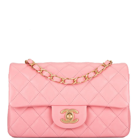 0106ca0509fe Chanel Pink Quilted Lambskin Rectangular Mini Classic Flap Bag