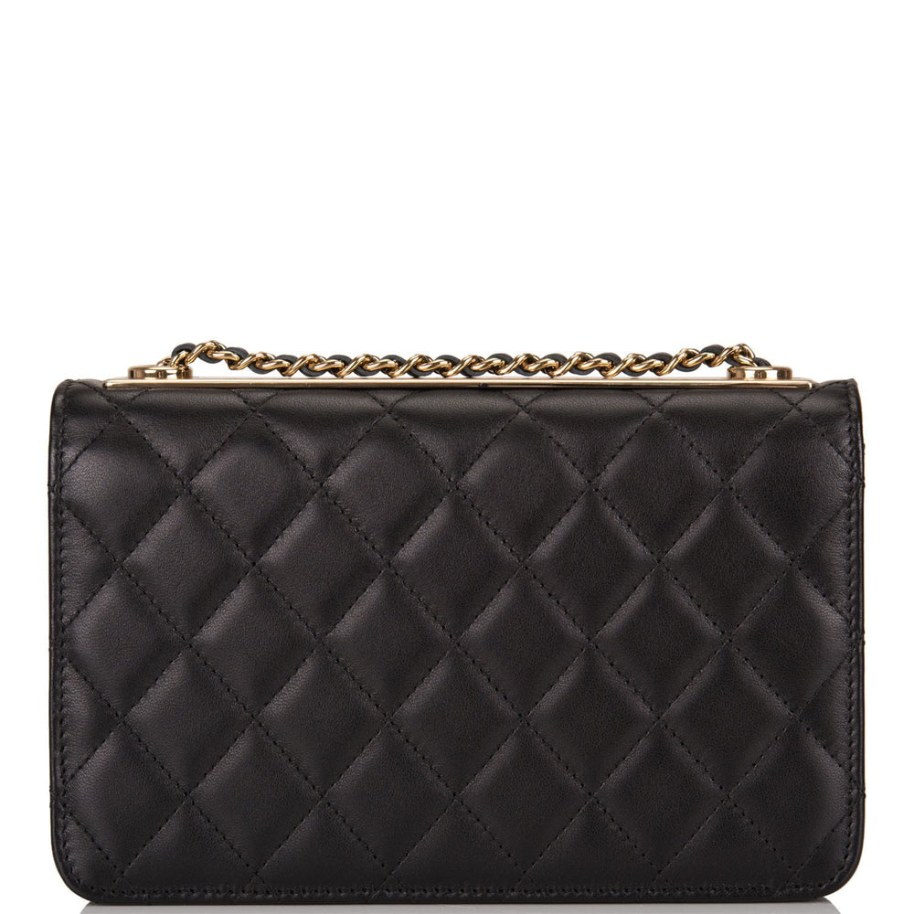 Chanel Black Quilted Lambskin Trendy CC Wallet On Chain (WOC) Light Gold Hardware