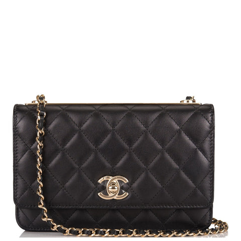 Chanel Black and White Geometric Lambskin Boy Wallet On Chain (WOC) Black Hardware