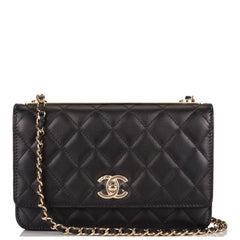 Chanel Black Quilted Lambskin Trendy CC Wallet On Chain (WOC)
