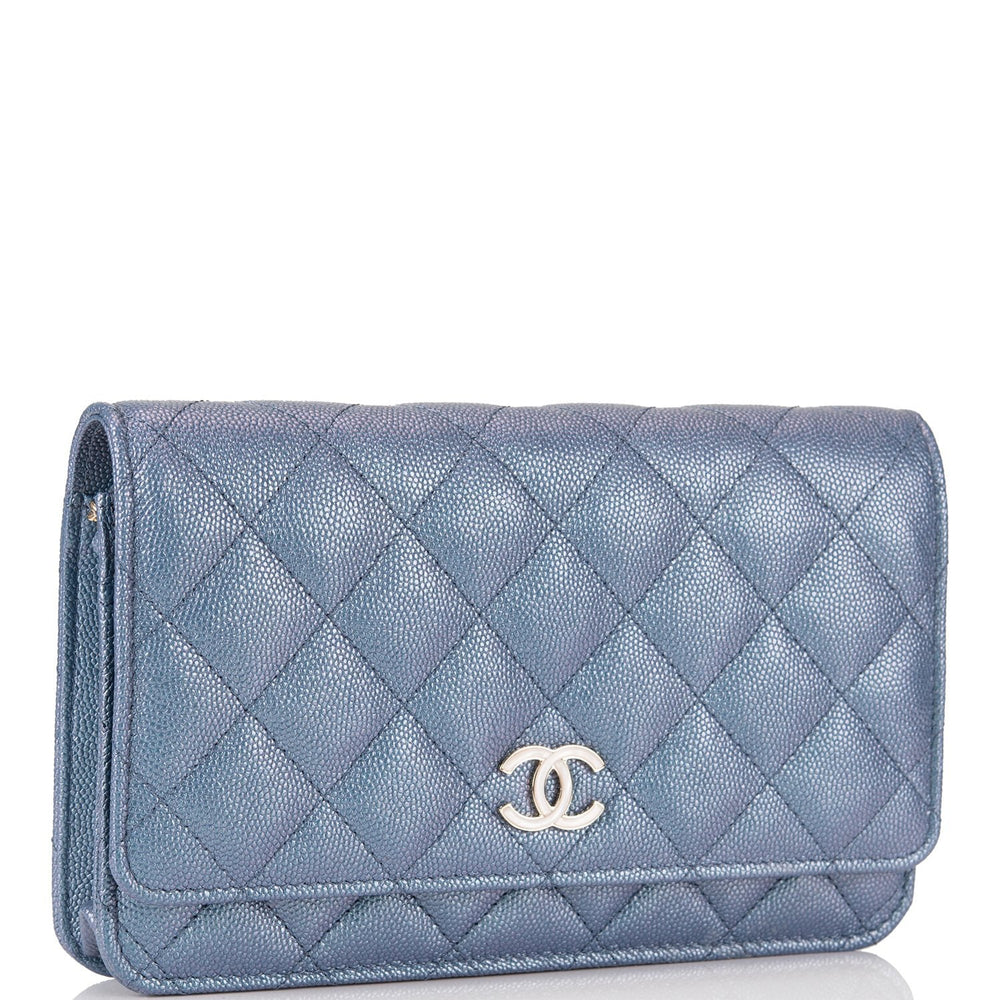 Chanel Blue Iridescent Classic Quilted Caviar Wallet On Chain (WOC) Light Gold Hardware