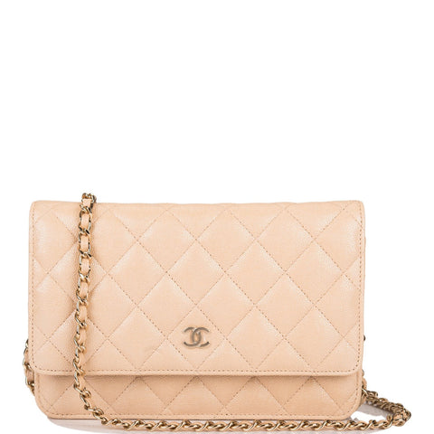 Chanel Navy Quilted Caviar Classic Wallet On Chain (WOC)