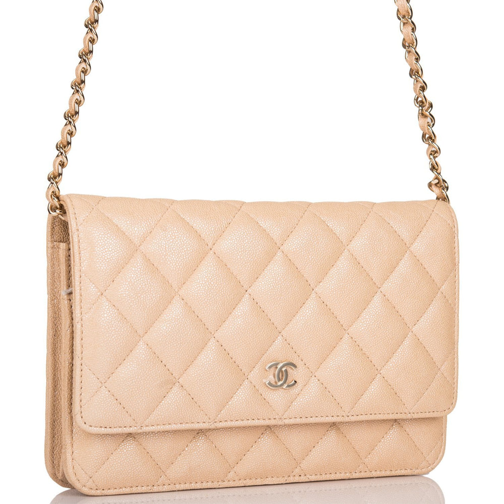 Chanel Beige Iridescent Classic Quilted Caviar Wallet On Chain (WOC) Light Gold Hardware