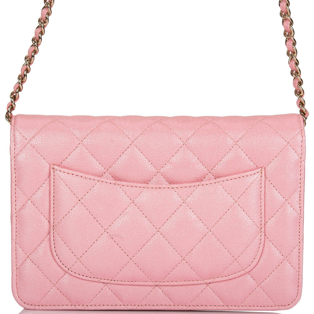 Chanel Pink Iridescent Classic Quilted Caviar Wallet On Chain (WOC) Light Gold Hardware