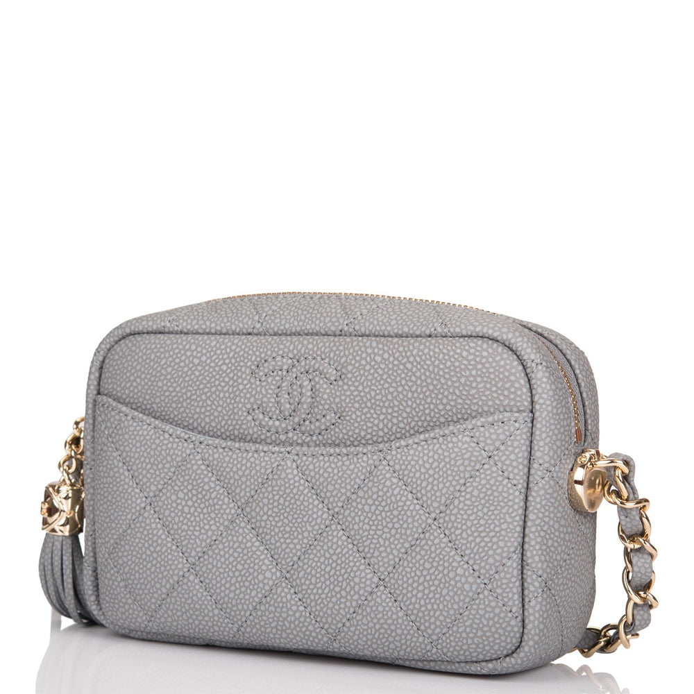 Chanel Grey Quilted Caviar Coco Tassel Camera Bag Gold Hardware
