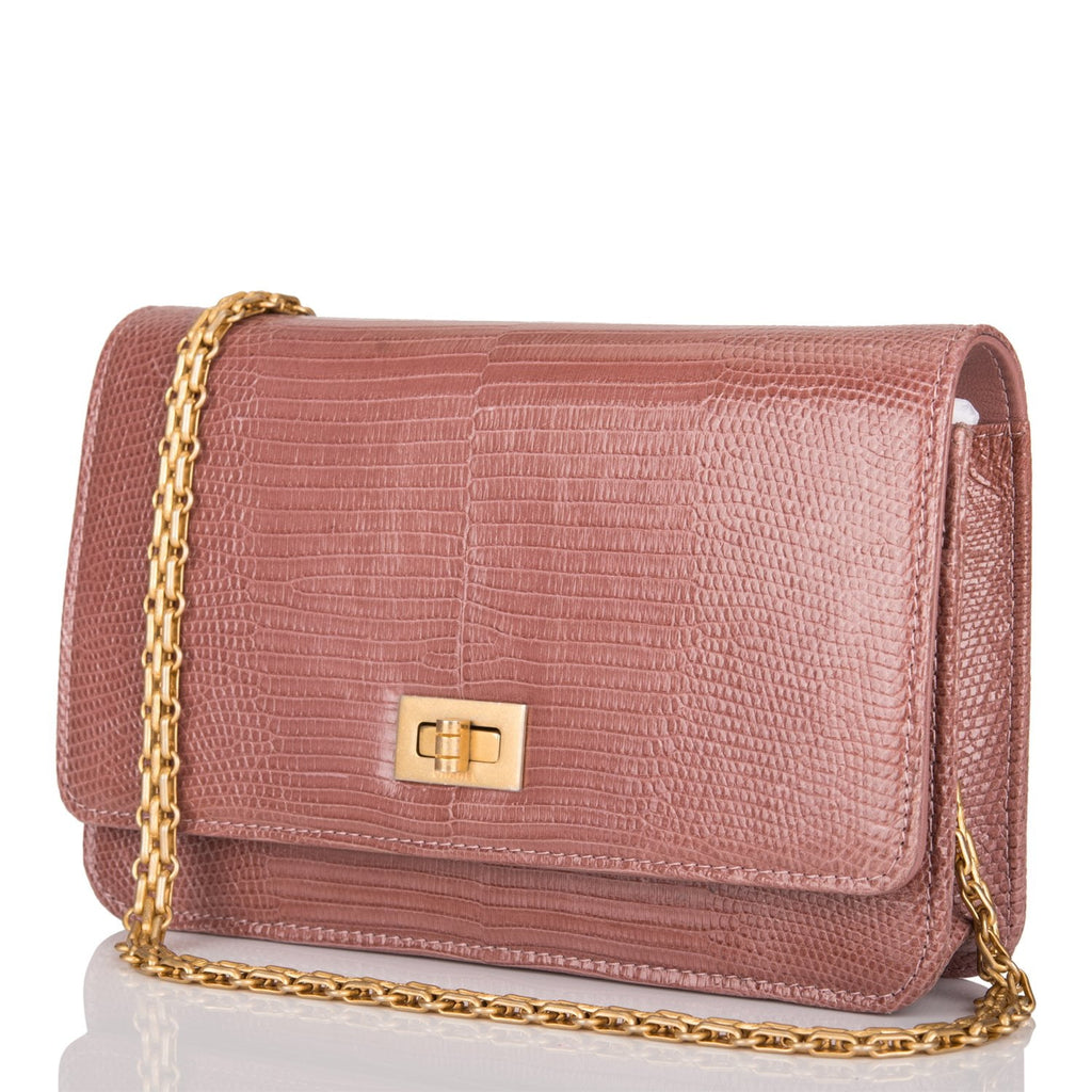 Chanel Dark Pink 2.55 Reissue Lizard Wallet On Chain (WOC)