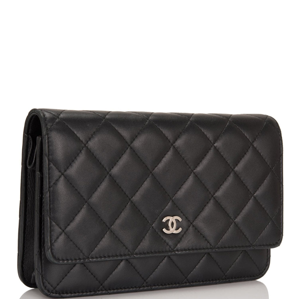 Chanel Black Classic Quilted Lambskin Wallet On Chain (WOC)