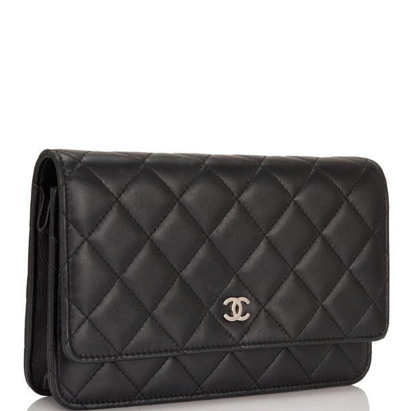 214c0a5368d3 ... Chanel Black Classic Quilted Lambskin Wallet On Chain (WOC) ...