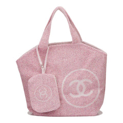 Chanel Pink Cotton Beach Tote & Towel Set