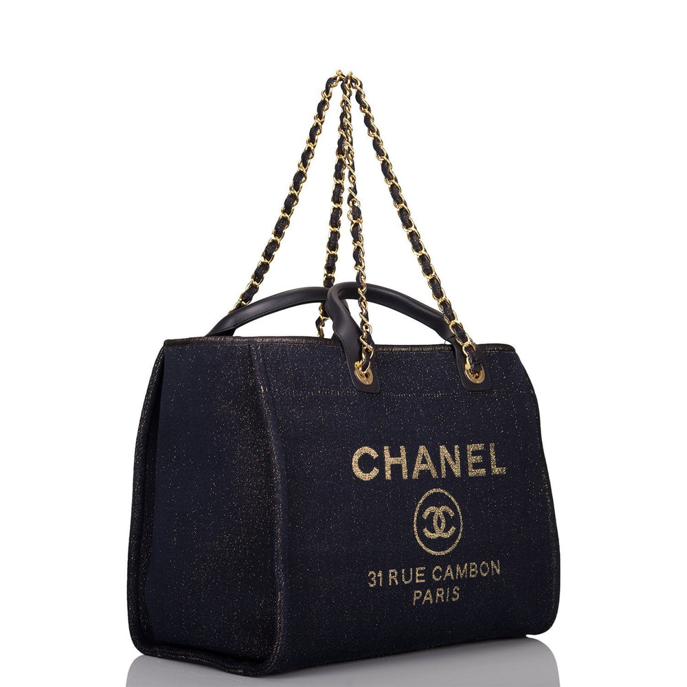 Chanel Navy Canvas Large Deauville Shopping Tote Gold Hardware