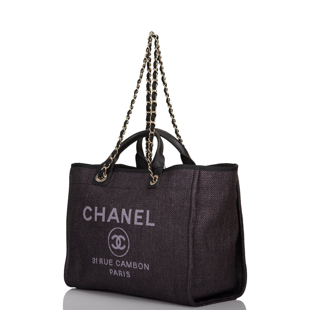 Chanel Black Canvas Large Deauville Shopping Bag