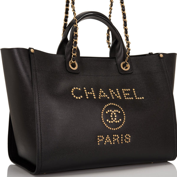 9a38b4971084 Chanel Black Leather Large Deauville Shopping Tote – Madison Avenue ...