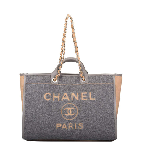 Chanel Grey and Beige Wool Large Deauville Shopping Tote Bag Silver Hardware