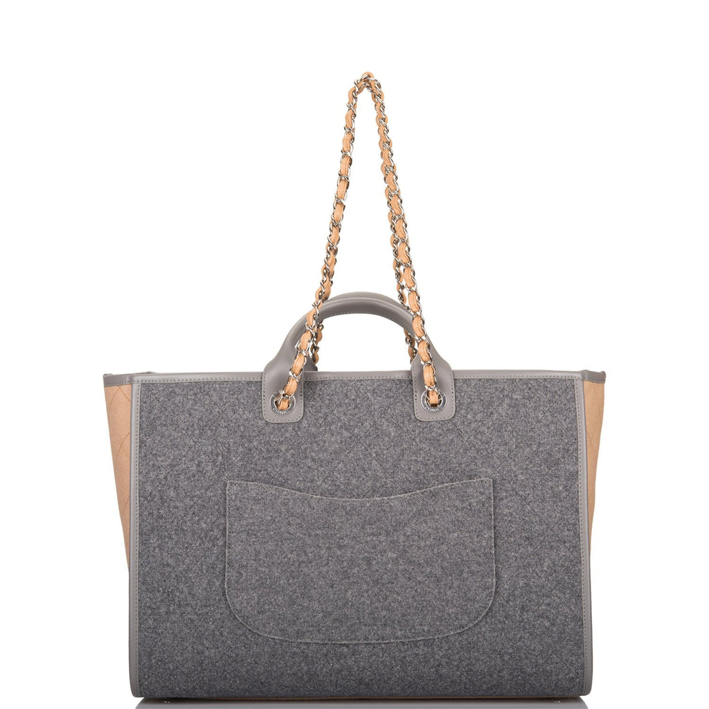 Chanel Grey and Beige Wool Large Deauville Shopping Bag Silver Hardware