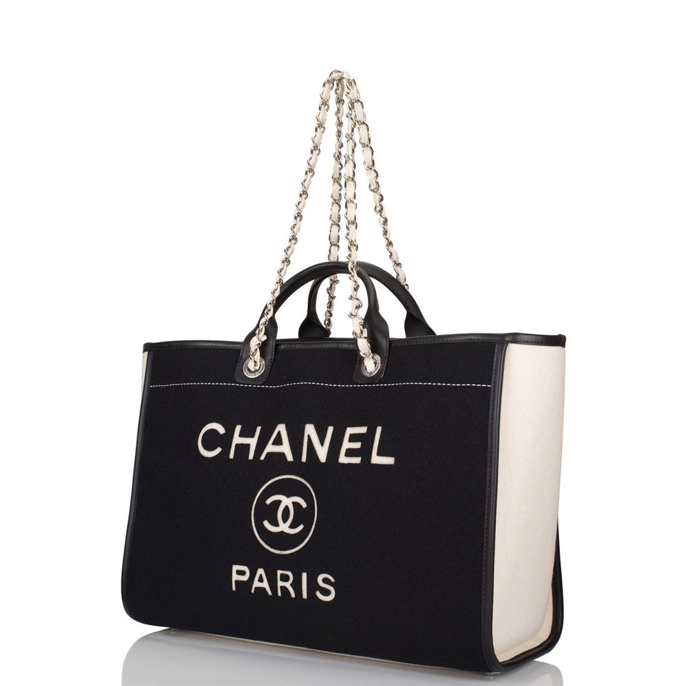 Chanel Black and White Wool Large Deauville Shopping Bag Silver Hardware