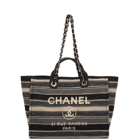 738ab84e57bc Chanel Large Striped Boucle Tweed Deauville Tote