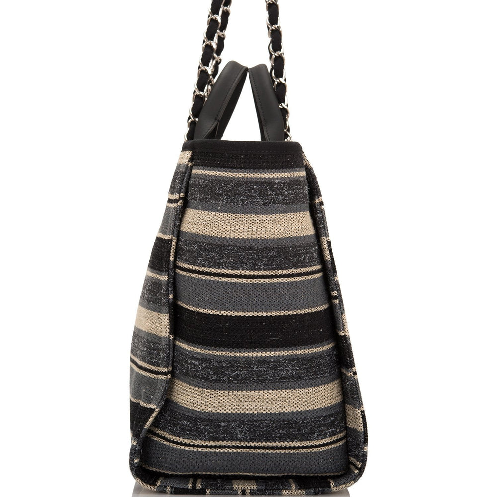 Chanel Large Striped Boucle Tweed Deauville Tote