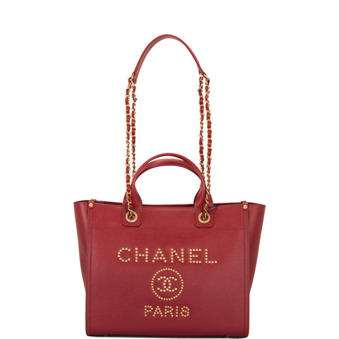Chanel Burgundy Leather Medium Deauville Shopping Tote