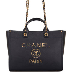 Chanel Navy Leather Large Deauville Shopping Tote