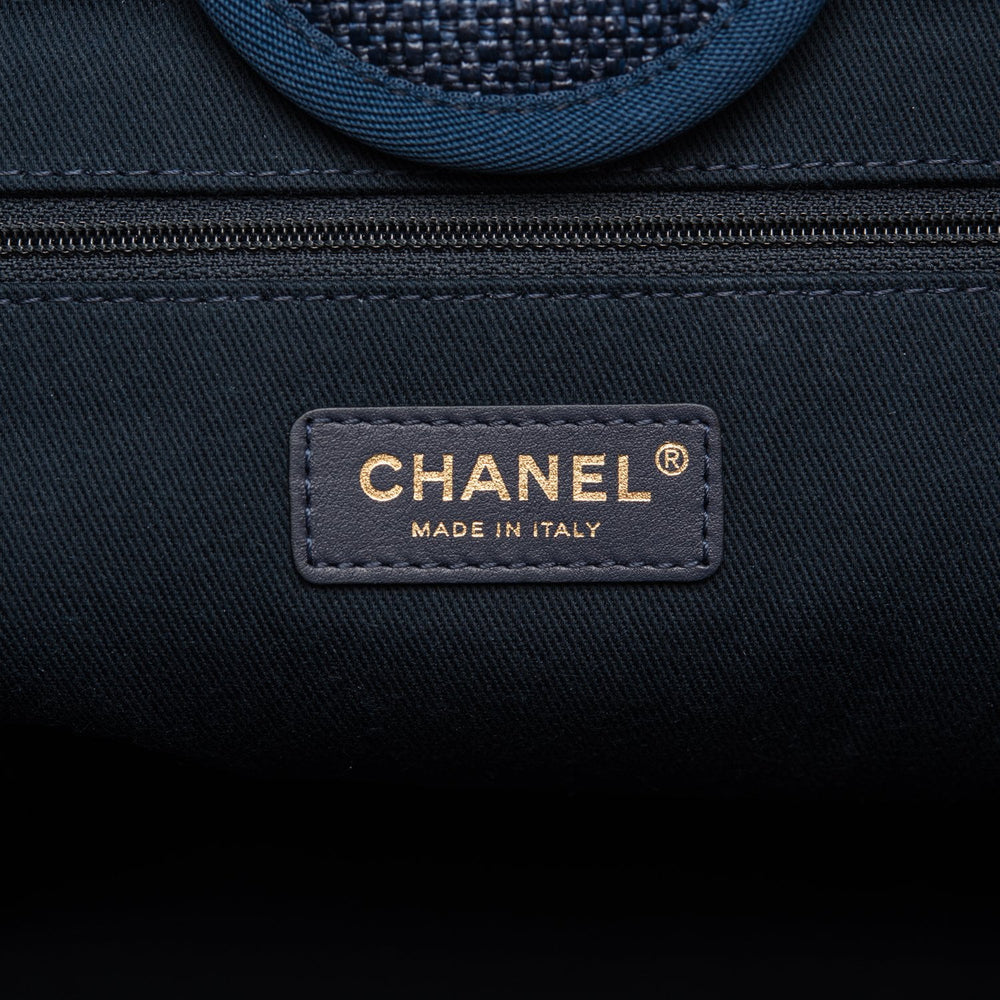 Chanel Navy Canvas Large Deauville Shopping Bag