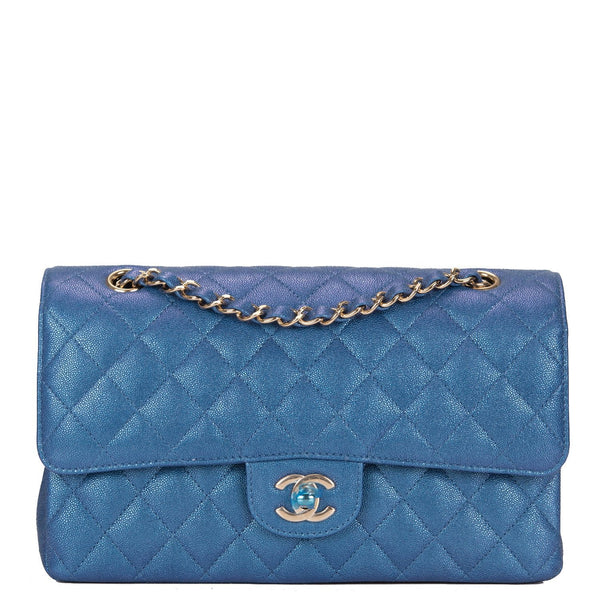 3f3f3f898a4e Chanel Iridescent Blue Quilted Caviar Medium Classic Double Flap Bag ...
