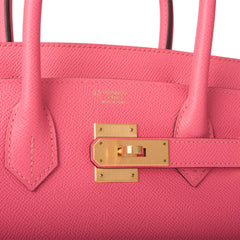 Hermes HSS Bi-Color Rose Azalee and Gris Mouette Epsom Birkin 30cm Brushed Gold Hardware