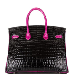 Hermes HSS Bi-Color Black and Rose Shocking Shiny Porosus Crocodile Birkin 35cm Palladium Hardware (Preloved - Mint)