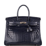Hermes Bleu Abysse Shiny Niloticus Crocodile Birkin 35cm Palladium Hardware (Preloved - Excellent to Mint)