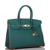 Hermes Horseshoe Stamp (HSS) Bi-Color Malachite and Orange Poppy Togo Birkin 30cm Permabrass Hardware