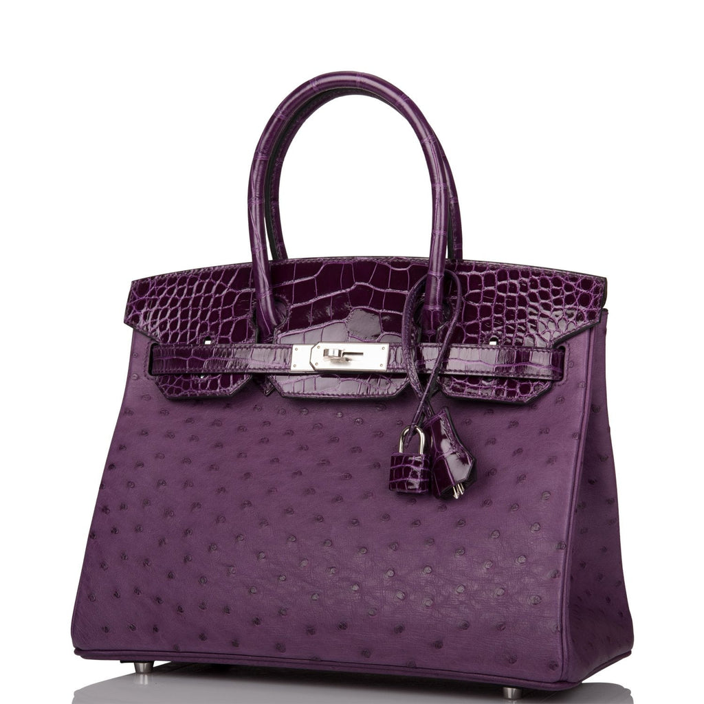 Hermes Violine and Cassis Alligator/Ostrich Birkin Touch 30cm Palladium Hardware