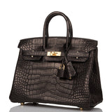 Hermes Black Matte Alligator Birkin 25cm Gold Hardware