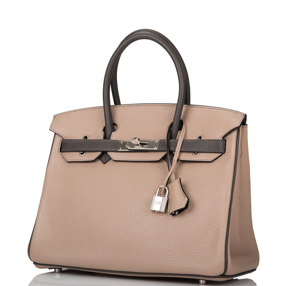 Hermes HSS Bi-Color Gris Tourterelle and Graphite Clemence Birkin 30cm Palladium Hardware