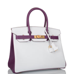 Hermes HSS Bi-Color White and Anemone Epsom Birkin 30cm Brushed Gold Hardware