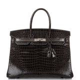 Hermes Graphite Shiny Porosus Crocodile Birkin 35cm Palladium Hardware (Preloved - Excellent to Mint)