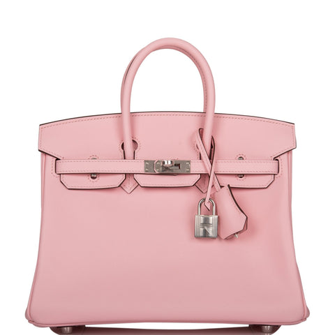 Hermes Rose Sakura Swift Birkin 25cm Palladium Hardware