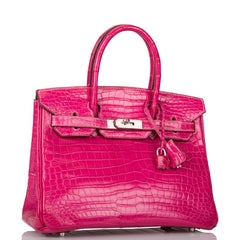 Hermes HSS Bi-Color Fuchsia and Rouge Garance Matte Crocodile Birkin 30cm Brushed Palladium Hardware (Preloved - Excellent)