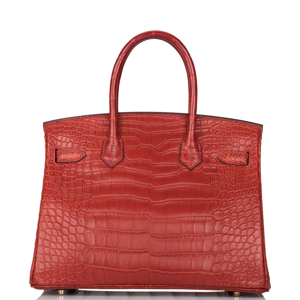 Hermes Rouge H Matte Alligator Birkin 30cm Gold Hardware