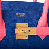 Hermes HSS Bi-Color Bleu Electric and Rose Azalee Epsom Birkin 30cm Gold Hardware