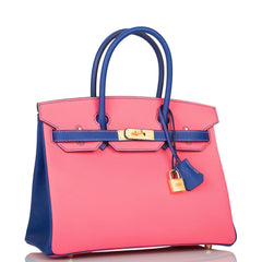 Hermes HSS Bi-Color Rose Azalee and Bleu Electric Epsom Birkin 30cm Brushed Gold Hardware
