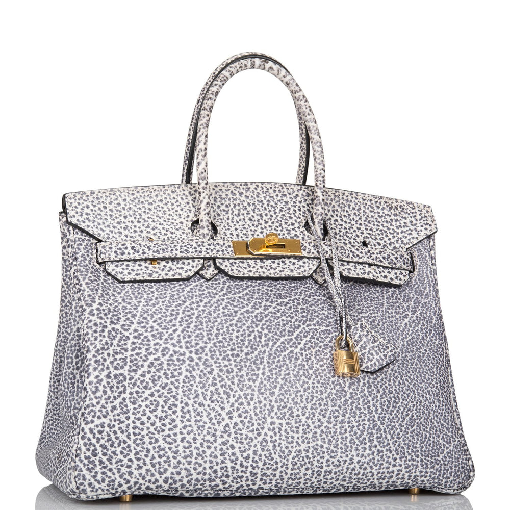 Hermes Rare Dalmatian Buffalo Birkin 35cm Palladium Hardware (Preloved - Excellent)