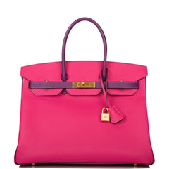 Hermes HSS Bi-Color Rose Tyrien and Anemone Epsom Birkin 35cm Brushed Gold Hardware (Preloved - Mint)