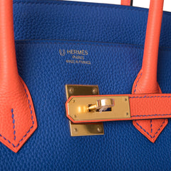 Hermes HSS Bi-Color Bleu Electric and Orange Poppy Togo Birkin 35cm Gold Hardware