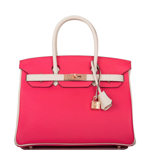 Hermes HSS Bi-Color Rose Extreme and Craie Clemence Birkin 30cm Rose Gold Hardware