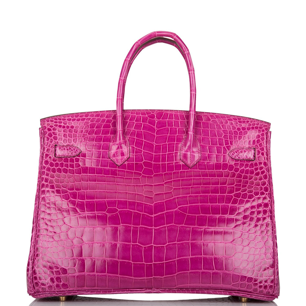 Hermes Rose Scheherazade Shiny Porosus Crocodile Birkin 35cm Gold Hardware (Preloved - Mint)