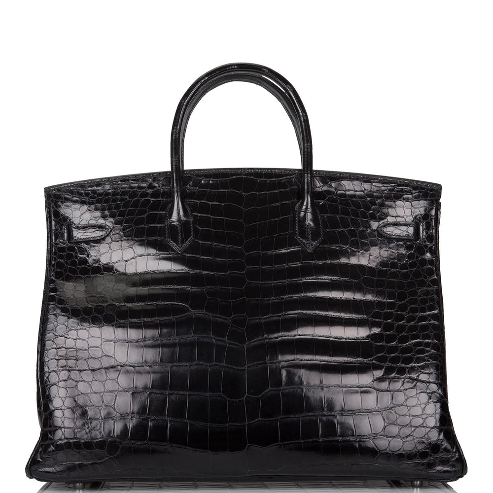 Hermes Black Shiny Porosus Crocodile Birkin 40cm Palladium Hardware (Preloved - Mint)