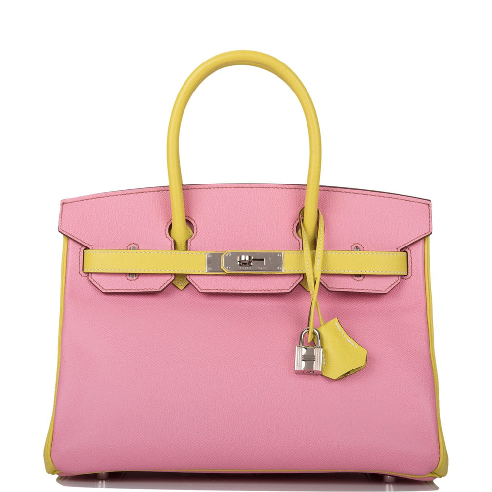 Hermes HSS Bi-Color Bubblegum 5p and Lime Epsom Birkin 30cm Palladium Hardware